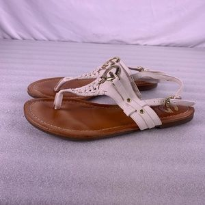 G By GUESS White and Gold Lemmon Sandals